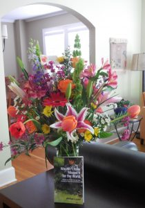 Flowers to celebrate book publication--tangible work!