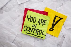 Sticky note reminder: you are in control!