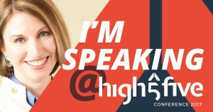 High Five 2017 conference logo with photo of Karin Wiberg