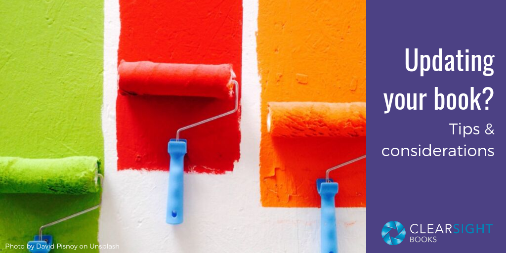 painting a wall with three bright colored paint rollers to represent updating your book