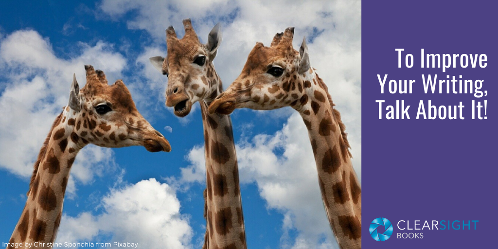 three giraffes talking--improve your writing through talking