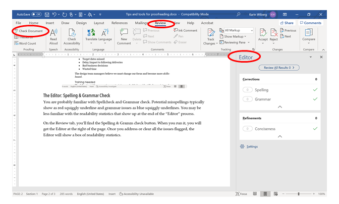 Image of MS Word document using the checker (spell check and grammar check)