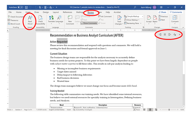 Image of the Read Aloud tool in MS Word