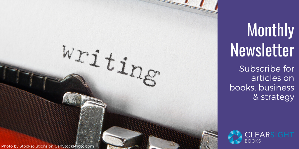 """graphic for newsletter; typewriter with the word """"writing"""" on the page"""