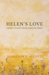 book cover for Helen's Love, rough yellow wall with flowers at the bottom
