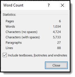 image of Word's Word Count display