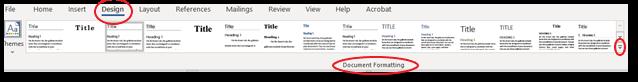 Design tab, Document Formatting box