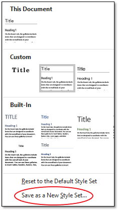 Available Styles in This Document, Custom, and Built-In