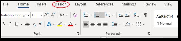 Design tab on Word ruler