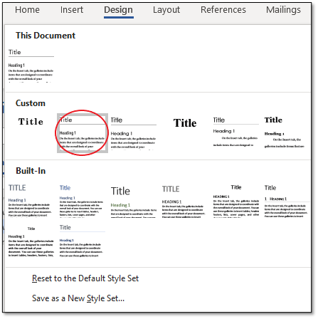 Custom row of Style Sets