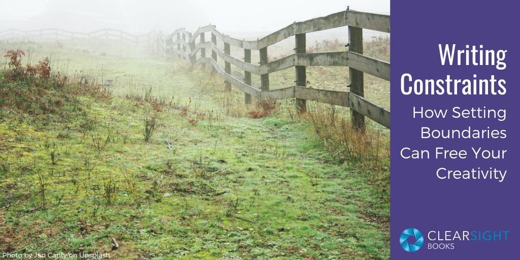 Image of pasture with wooden fence. Text: Writing Constraints: How setting boundaries can free your creatvity