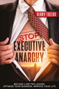 Stop Executive Anarchy book cover; image of man opening suit jacket to show a brighter day dawning